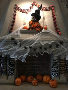 Blaine lobby with Holloween garland